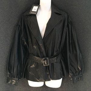 SMALL NWT WHO WHAT WEAR FAUX LEATHER BLACK JACKET